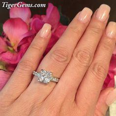 2.25 Ct Cushion Cut Engagement Ring Man Made by TigerGemstones