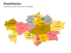 Editable PowerPoint Map: Kazakhstan Map
