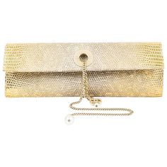 Chanel Metallic Gold Genuine Lizard Pearl Keychain Front Flap Clutch Bag | From a collection of rare vintage clutches at https://www.1stdibs.com/fashion/handbags-purses-bags/clutches/
