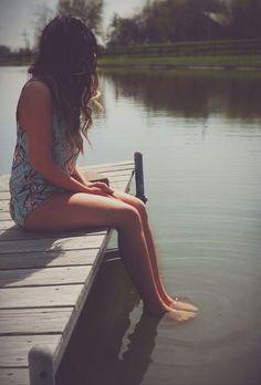 Pond, pier, photoshoot, ombré, romper, kelseyshootsyou