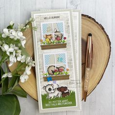 Tall & Skinny Window Dressing Cards (Mama Elephant) Card Making Inspiration, Making Ideas, Mama Elephant Stamps, Window Cards, Dog Cards, 3d Projects, Card Tags, Book Crafts, Paper Gifts