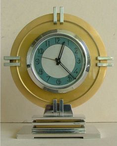 industrial look_French streamline moderne art deco clock, made from polished & anodized aluminum, signed by T Bourdeau Art Nouveau, Interiores Art Deco, Retro, Estilo Art Deco, Clock Decor, Mantel Clocks, Clock Art, Desk Clock, Antique Clocks