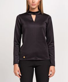 Another great find on #zulily! Black Keyhole Mock Neck Top #zulilyfinds