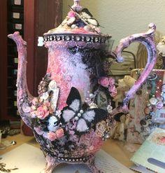 Altered Shabby Chic Tea Pot