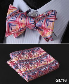 Pink, Blue, Yellow Floral 100% Silk Butterfly Tie Self Tie Bow Tie Pocket Square Bow tie Set
