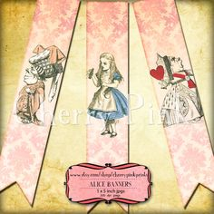 ALICE in WONDERLAND BANNER digital printable banner style bunting download for scrapbooking, party printables and graphic design.