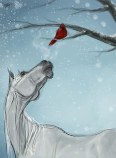 Horse and Cardinal painting in the snow. I love this! Beginner canvas painting idea.