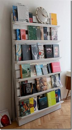 100 Creative Uses For Old Pallets - Gallery I like the book case, hells and the way to hide trash cans