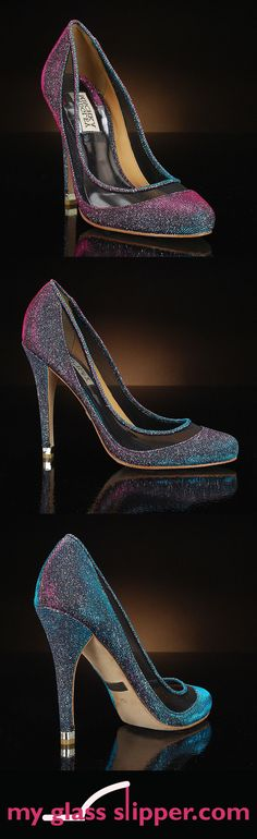 MYRIA in GREY PLUM by BADGLEY MISCHKA: This unique shimmery wedding shoe in the trendy and elegant peacock colors of purple, teal and green features a sexy sheer panel. Fashion-forward colorful sparkle! $245     http://www.myglassslipper.com/wedding-shoes/badgley-mischka/myria-greyplum-7934