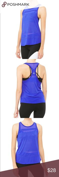 "NWT ALO Yoga Blue Racerback Ella Tank Brand new with tags Retail $58  Color: Airy Head (Royal Blue)  Style: Ella Tank / Racerback Net Detail  Size Medium  Bust: 17"" Length: 26""  * Price is firm ALO Yoga Tops Tank Tops"