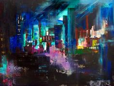 City acryl op canvas