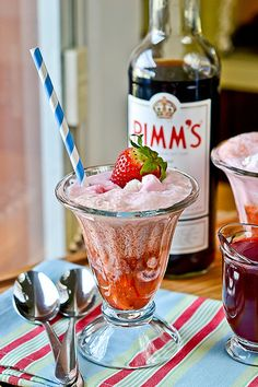 22 recipes involving Pim's for your inner (or actual) Brit. Because it's a sweet gin-based liqueur, almost all of the recipes are either drinks or desserts. But, hey! That means more DRINKS and DESSERTS. Included: Pimm's and Strawberry Ice Cream Floats (shown), Cherry & Pimm's pie, Pimm's cupcakes, Wimbledon Roll with Pimm's cream, Pimm's cake pop truffles.