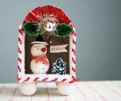 the adventures of bluegirlxo: artful thursdays #29 spun cotton snowman winter shadowbox tutorial