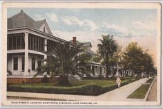 Pujo Street, looking west from Kirkman.  The Gus Quinn Sr house is the second or so from the corner  Lake Charles, LA