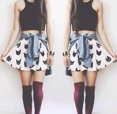 skater skirt, knee socks, crop top.. amazing