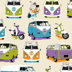 Muriva Retro VW Camper Van and Mopeds Wallpaper J05901 | eBay