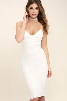 Lulus Exclusive! When you need a dress as fabulous as your travel destination be sure to pack the Catalina Classic White Bodycon Midi Dress! Medium weight stretch knit forms this sexy midi dress with a seamed, triangle bodice, banded waist, and a bodycon skirt. Skinny straps and back kick pleat. Hidden back zipper.