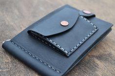 Leather Wallet-Men Wallet-Leather Card Holder Leather-Handmade Money clips Black