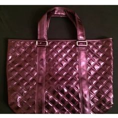 """SALE! Marc Jacobs magenta quilted shopper tote Pre loved authentic Marc by Marc Jacobs bag purchased at an NYC sample sale. Roomy and easily holds your laptop (my 13"""" MacBook Pro fits easily) and there's still room for essentials. Has one zippered pocket and is open top. Note peeling on the handles - see photos. The bag base has been folded in for storing Marc by Marc Jacobs Bags Totes"""
