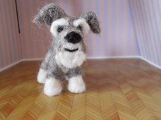 Glasseyesonline pinned this lovable Schnauzer dog  needle felted origonal puppy soft by BenMcfuzzylugs, $35.00.  Check them out on Etsy!!!