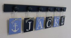 I really like this but change it to Bentley of course lol... Anchor Nursery Decor Baby Boy Blue / Navy Nautical by NelsonsGifts, $33.00