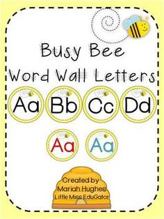 Busy Bee Word Wall Letters - Freebie