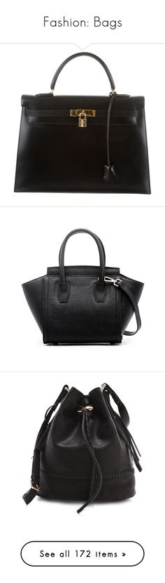 """Fashion: Bags"" by katiasitems on Polyvore featuring bags, handbags, hermes, black, handbag purse, leather handbag purse, leather handbags, hermes handbags, leather purses and tote bags"