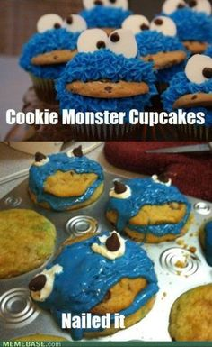 cookie monster cupcakes fail // does anyone want to know why this person failed? The failed because they didnt wait for the cupcakes to completely cool therefore the frosting melted. I always see this and the fact that no one understands why it failed frustrates me.