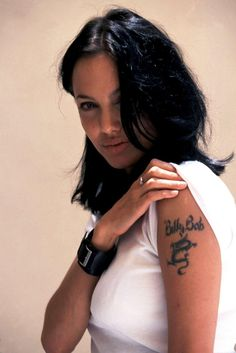 """angelina jolie 90's- Her """"Billy Bob Thorton"""" Tattoo! It was covered when she married Brad Pitt! But She """"Slippled"""" and said: """"He Was Hung Like a Horse""""! in a Fashion Magazine Interview!"""