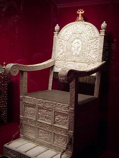 """Ivory Throne of Russia ---- the throne Alexandra used during her and Tsar Nicholas' coronation (first was made for Tsar Ivan IV--aka """"Ivan the Terrible"""")"""