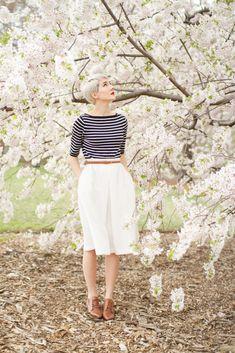 Striped top, belted midi skirt...sakura blossoms. :)