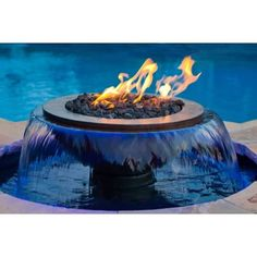 Patio Living :: Pool And Water :: Fire And Water Bowls :: Evolution Copper Fire And Water Fountain Fire Pit With Water Feature, Copper Fire Pit, Home Fountain, Modern Fountain, Pool Water Features, Gas Fire Table, Fire Pit Designs, Fire Bowls, Fire Pit Backyard
