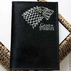 Купить Игра престолов. Обложка на паспорт. - черный, обложка на паспорт, обложка из кожи, обложка на документы