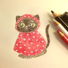 New party member! Tags: cute water black cats drawing rain neko pencils raindrop raincoat jessthechen