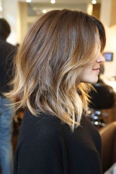 i want this but dark brown to light auburn and more layers in the back! like right no!