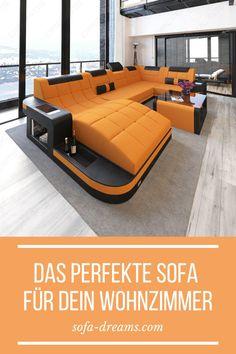 Die XXL Wohnlandschaft Wave in Lederoptik ist ein wahrer Hingucker in jedem modernen Wohnzimmer. Weitere Designer Möbel und Wohnideen für dein Luxus Haus findest du bei Sofa-Dreams.