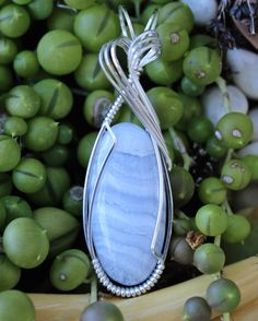 Blue Lace Agate Stone Pendant Sterling Silver Wire Wrapped Handmade Jewelry Necklace by MikeWatsonDesign on Etsy https://www.etsy.com/listing/251450716/blue-lace-agate-stone-pendant-sterling
