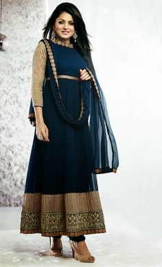 Stunning salwar suits designs and sarees with awesome necklines.: Stunning Anarkali suit