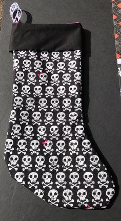Skulls and Crossbones Christmas Stocking: Bows, Holidays, Gifts.
