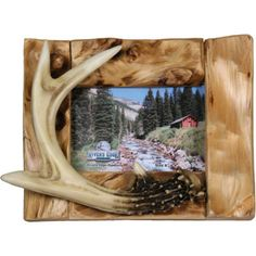 "Rivers Edge Products 4"" x 6"" Deer Antlers on Fir Wood Picture Frame. $14.99"