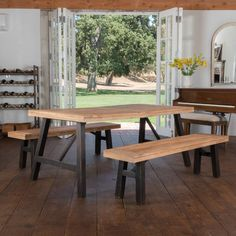 Cottage Acacia Wood Picnic Dining Set by Christopher Knight Home (Brushed Grey), Size Sets Kitchen Dining Sets, Dining Room Sets, Dining Room Table, A Table, Kitchen Ideas, Picnic Table, Grey Table, Patio Dining, Wood Table