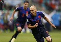 World Cup Final 2010 Rematch Spain vs Netherlands in Pictures - Robben of the Netherlands celebrates after scoring a goal against Spain during their 2014 World Cup Group B soccer match at the Fonte Nova arena in Salvador . MARCOS BRINDICCI/REUTERS