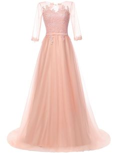 JAEDEN Lace Prom Dresses Long Evening Party Dress with Sleeves Tulle Blush US28. High Quality Soft,Smooth,Comfortable Tulle Fabric. Appliqued Lace. Scoop Neck,Lace Up Back. Season: Spring, Summer, Fall, Winter. Please read the size chart image on the left carefully before you order the dress from us.