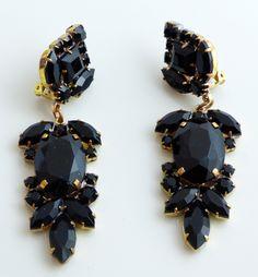 Large Black Czech Glass Dangling Clip Earrings - Vintage Lane Jewelry