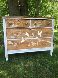 For Sale: Hand painted antique oak dresser - Solid oak antique dresser, Annie Sloan chalk paint hand painted bird motif, natural jute pulls and crackled knobs on serpentine front top drawers, heavily distressed chippy paint look on the body of the dresser