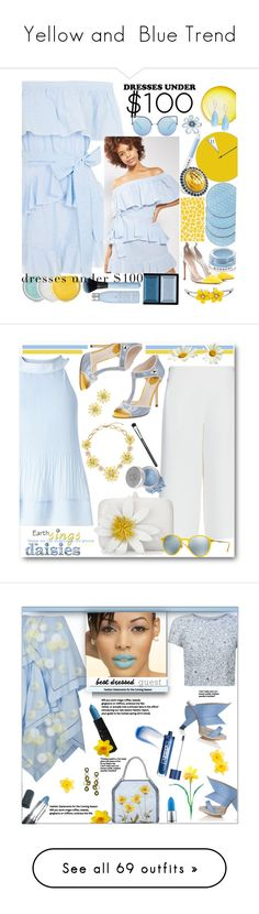 """""""Yellow and  Blue Trend"""" by yours-styling-best-friend ❤ liked on Polyvore featuring Topshop, Barneys New York, Gianvito Rossi, Casetify, Saks Fifth Avenue, Lagos, Givenchy, Matthew Williamson, Clé de Peau Beauté and Marc Jacobs"""