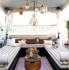 Terraza con rayas - lamparas de cristal