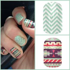 Aztec Evening makes a great combo with Mint Chevron!  www.jorear.jamberrynails.net