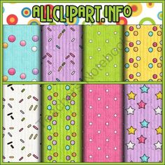 Birthday Party Owls Digital Papers from AllClipART on TeachersNotebook.com -  (1 page)  - Birthday Party Owls Digital Papers - 8 textured and patterned papers in teal, pink, purple, yellow, green and white.