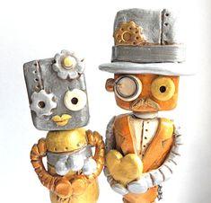 Metallic Steampunk Robots in Love Wedding Cake Topper on Gear Base.